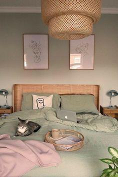 @fairlinnard Bedroom Green, Room Ideas Bedroom, Home Bedroom, Bedroom Inspo, Large Bedroom, Artwork For Bedroom, Lighting Ideas Bedroom, Greek Bedroom, Bedroom Inspiration Cozy