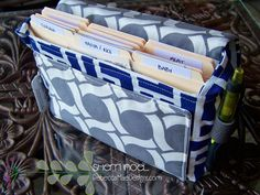 extreme couponing bag sewing pattern. This coupon bag has all the bells and whistles! Even hangs on your shopping cart!