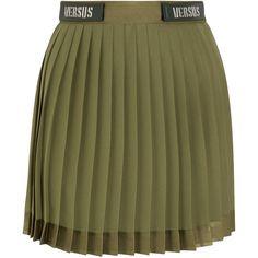 Versus Versace Embellished satin-trimmed pleated chiffon mini skirt (£335) ❤ liked on Polyvore featuring skirts, mini skirts, embellished mini skirt, short chiffon skirt, short skirts, pleated chiffon mini skirt and chiffon mini skirt