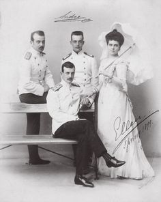 Grand Duke Kyril, Boris and Andrei Vladimirovichi with their only sister Grand Duchess Elena, Princess of Greece