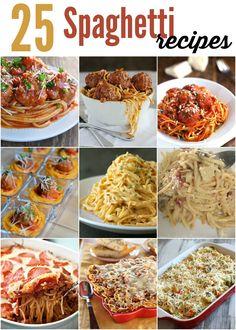 So many fun Spaghetti Recipes to keep your menu full! #spaghetti #recipes #dinner