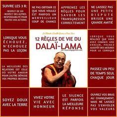 Life Quotes : 12 règles de vie du dalai lama - The Love Quotes Positive Mind, Positive Attitude, Positive Vibes, Positive Quotes, Strong Quotes, Attitude Quotes, Mantra, Osho, Reiki