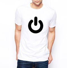 Men's Tshirt Power Symbol White Black Minimal by AptakisicTee, $20.00