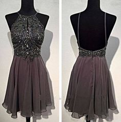 The Backless Grey Homecoming Dresses are fully lined, 8 bones in the bodice, chest pad in the bust, lace up back or zipper back are all available, total 126 colors are available.  This dress could be custom made, there are no extra cost to do custom size and color.  Description  1, Material: chif