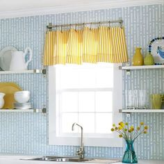 Simple Valance from IKEA rod and hooks for kitchen window