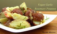 Vegan Garlic Rosemary Potatoes. Perfect for entertaining and ready in 20 minutes! No peeling required!