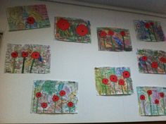 Anzac Day art I created. Background is cut up pieces of The Ode and The Last Post, covered with a wash of water colours. Children were then able to add as many or as little poppies as they wanted with red and green paper. They then used sharpies to outline their poppies and stems. Grade 1 Art, Patriots Day, Art Terms, Anzac Day, Remembrance Day, Veterans Day, Summer Art, Art Activities, Creative Art
