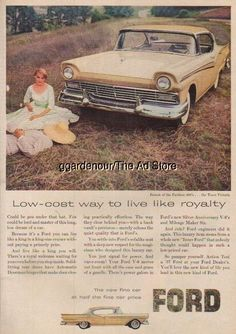 1957 Town Victoria Ford Fairlane 500 50's car photo Ad Vintage 1950s Advertising
