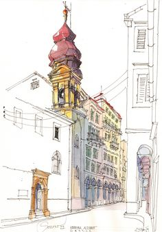 Korfu, Altstadt, GR really like the concentration to one area to define it, the rest is subtle and non-focal. Building Illustration, Illustration Sketches, Watercolor Illustration, Drawing Sketches, Watercolor Architecture, Architecture Drawings, Architecture Journal, Travel Drawing, Pen And Watercolor