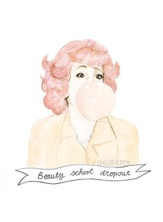 Frenchy from Grease watercolour portrait PRINT Didi by ohgoshCindy, £9.00