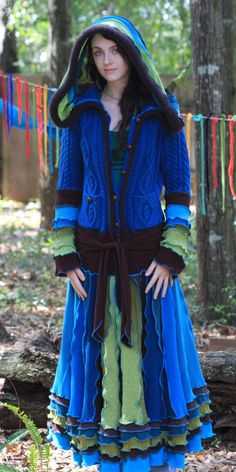Recycled sweater coat, elf, pixie, faery, cashmere, gypsy, vagabond, ragamuffin, patchwork, earth sea sky Goddess