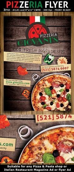 Pizzeria/Italian Restaurant Ad Flyer Template on Behance