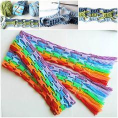 DIY Colorful Crochet Wool Scarf https://www.facebook.com/icreativeideas