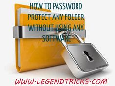 How To Password Protect Any Folder Without Any Software:-  Yes you read the title right :D.. In this tutorial Im gonna teach you how you can How to Password Protect Any Folder without Any Software. Its a very useful trick, instead of buying $50-$250 of folder lock softwares you can use this :)  Actually in this we will code a locker with batch programming. This Trick works on all Windows Platform..