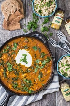 1. Chicken Curry and Spinach With Coconut Lime Rice #glutenfree #recipes http://greatist.com/eat/gluten-free-dinner-recipes-ready-in-30-minutes-or-less