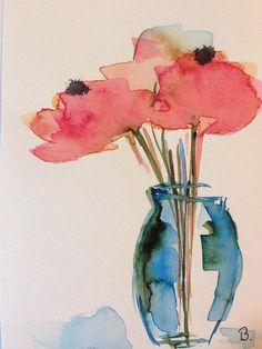 ORIGINAL WATERCOLOR Watercolour postcard picture art bouquet flowers of watercolour flowers
