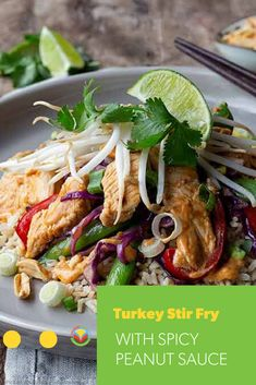 Scrumptious stir-fried turkey and veggies pair perfectly with a slightly spicy, coconutty peanut sauce. Bison Recipes, Turkey Recipes, Pork Recipes, Oats Recipes, Egg Recipes, Fruit Recipes, Chickpea Recipes, Vegetarian Recipes, Mushroom Recipes