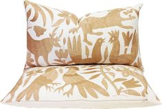Mexican Otomi Embroidered Pillows, Pair
