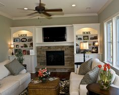 stone fireplace and white trim