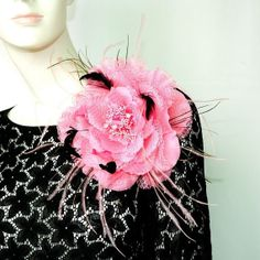large pink feather hair clip flower fascinator by Mamahanky, $11.99