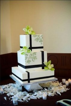 Modern wedding cake- simple, classy Could be pretty with navy trim and pink flowers @Karen Gunderson