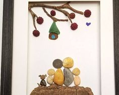 Family pebble art, Family housewarming gift, Family of four, Family with dog, unique rock family art, personalized family gift