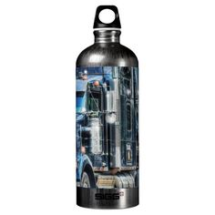 Blue Big Rig Cab Truck Art for Truckers on a classy SIGG Water-bottle