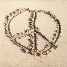 Peace, beach, summer, sand Beach Wall Murals, Symbol Drawing, Summer Words, Teen Room Decor, Summer Of Love, Summer Beach, Summer Time, Hippie Chic, Boho Chic
