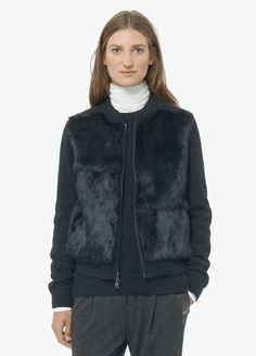 Fur Front Sweater Jacket from Vince