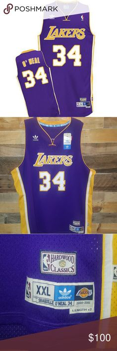 NEW ADDIDAS SHAQUILLE O NEAL JERSEY ADDIDAS NEW WITH TAGS #34 LAKERS JERSEY SHAQUILLE O NEAL SOUL SWINGMAN JERSEY COLOR PURPLE SIZE 2XL HEAVY WELL MADE QUALITY 100% BREATHABLE POLYESTER STITCHED NUMBERS AND LETTERS EMBROIDERED HARDWOOD CLASSICS 2000-2001 CLIMACOOL RETAILS $150 *HARD COLOR TO FIND* *NO RETURNS NO TRADES* Addidas Shirts Tank Tops