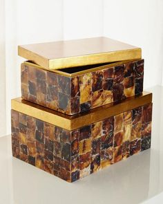 """St. Armand's Penshell Box, 2-Piece Set  MANY IN STOCK DECORATIVE OBJECTS NEIMAN MARCUS #ONLYATNM Only Here. Only Ours. Exclusively for You. Handcrafted boxes. Hand-applied penshell overlay on engineered wood. Topped with flat gold-leaf lids. Small, 12""""L x... https://www.kenshohome.com/"""
