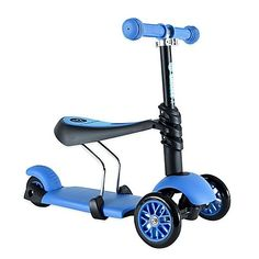 Yvolution Y Glider YG31B 3in1 Scooter in Blue 3Wheeled Scooter Features Removable Seat And HeightAdjustable Handlebars * Check this awesome product by going to the link at the image. Best Scooter, Kids Scooter, Scooter Bike, 4 Year Old Boy, Walmart, Ride On Toys, Old Boys, Gliders, Toddler Girl