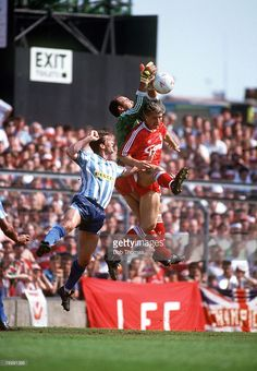 5th May 1990, Division 1, Coventry City v Liverpool, Liverpool's Bruce Grobbelaar assisted by Glenn Hysen, saves from Coventry City's Kevin Drinkell