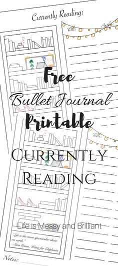Free Currently Reading Bullet Journal Printable Tracker