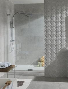 Chevron tile bathroom chevron living grey chevron bathroom t Kitchen Wall Tiles, Ceramic Wall Tiles, Wall And Floor Tiles, Chevron Bathroom, Chevron Tile, Grey Chevron, Bathroom Interior, Modern Bathroom, Small Bathroom