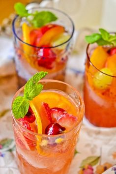 white sangria - pinot grigio or sauvignon blanc; triple sec; fresh peaches; fresh strawberries;  orange; green grapes; bing cherries; fresh mint; ice; simple syrup