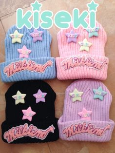 Milkñim Beanie with three star shaped badges. Available in Pink, Black, Lavender or Blue. FREE SHIPPING! (´・ω・)っ由 $25.00