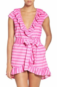BETSEY JOHNSON VINTAGE RUFFLE TERRY ROBE SUNNY STRIPE PINK FLAMINGO $34 - PICK UP OR SHIPS FREE WORLDWIDE! BET PRICE GUARANTEE - MAJOR CREDIT CARDS ACCEPTED - SHOP OUR SSL SECURE WEBSITE: SophiaSpano.com