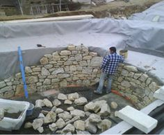 Construction phase of natural swimming pool