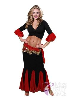 Belly Dance Skirt-Top & Hip Scarf Costume Set | Esma Toure