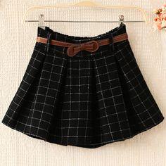 E5138-2013 women's trend plaid polka dot casual woolen short skirt bust skirt 1024 US $12.52
