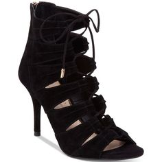 Jessica Simpson Mahiri Lace-Up Ghillie Sandals (1,105 MXN) ❤ liked on Polyvore featuring shoes, sandals, black, black high heel shoes, lace up sandals, jessica simpson shoes, gladiator shoes and black sandals