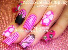 Nail Art Tutorial | Vintage Diva Nails | Pink Black and White Nail Design