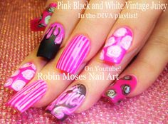 Nails up for Monday! #diva #nails #nail #art #design #tutorial #pink #black #white #long #trendy #antique #vintage #trendy #diy #howto #stripes #roses #paint #drips