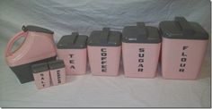 Pink and grey canister set