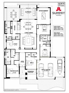 View and compare Display Homes in Ku on the one easy to use site. 5 Bedroom House Plans, Floor Plan 4 Bedroom, Dream House Plans, House Floor Plans, Home Design Floor Plans, Dream Home Design, House Design, Building Plans, Building A House