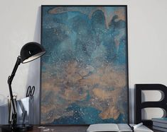 Modern Abstract Art Watercolor, Blue and Copper Abstract Wall Art, Contemporary Abstract Art Home Decor, Metallic Abstract Wall Art