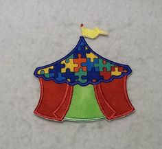 Circus Tent Autism Awareness Puzzle Piece (small) Tutu & Shirt Supplies - fabric iron on Applique Patch 8183 by TheFabricScene on Etsy