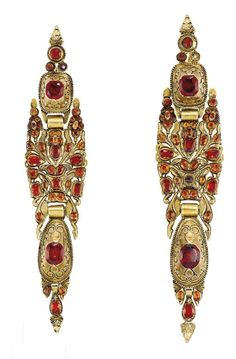 Cushion Shaped Hessonite Garnet Ear Pendants, Mounted In Gold    c.18th Century  -  Christie's