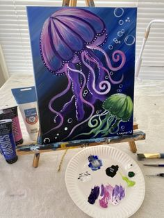 Jellyfish Painting - Step By Step Painting paintings summer Jellyfish Painting Tutorial Painting Tutorial, Ocean Painting, Art Painting Oil, Underwater Painting, Fish Painting, Animal Paintings Acrylic, Canvas Painting Tutorials, Watercolor Paintings Abstract, Jellyfish Painting